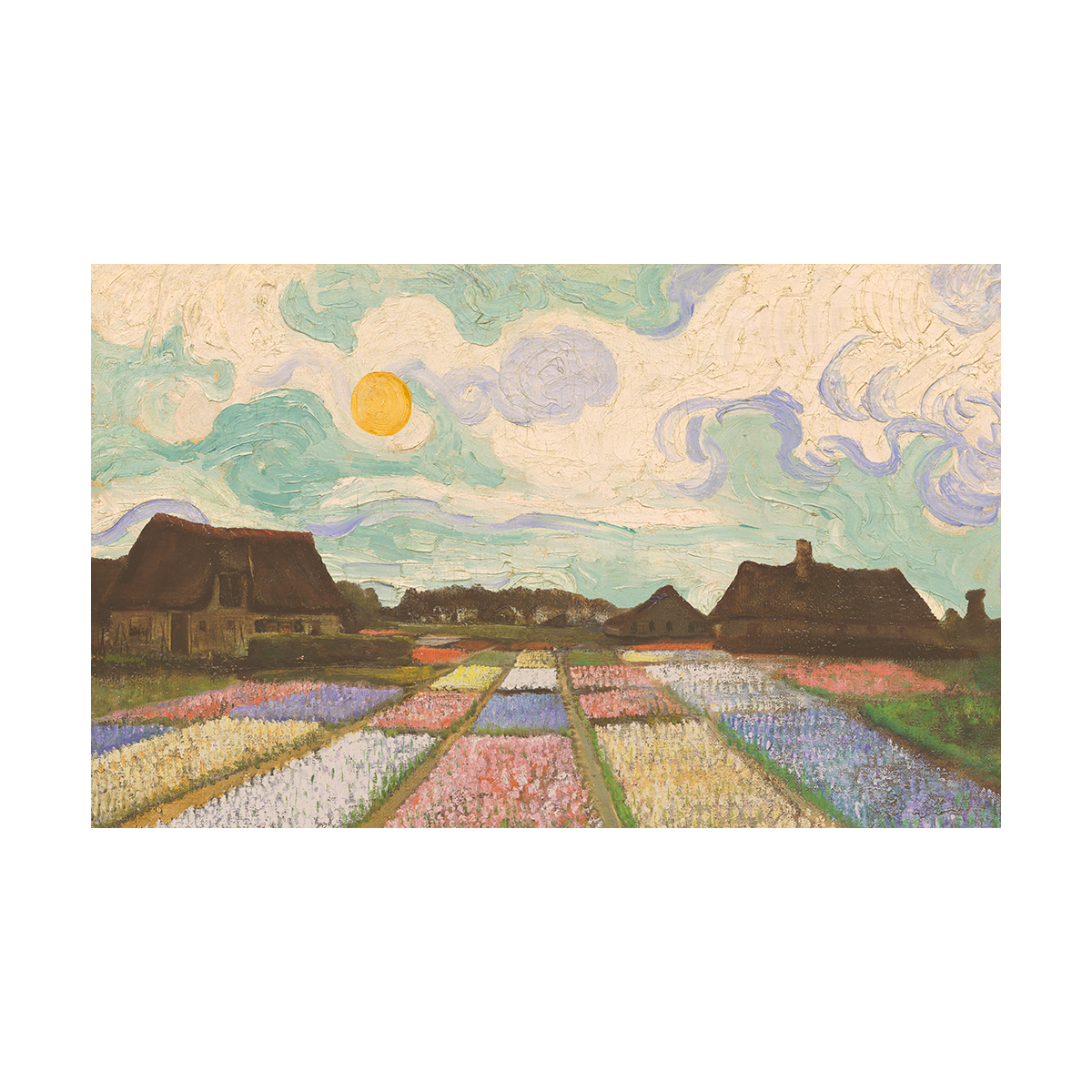 A painting of a beds of flowers in front of houses under a rising, early-morning, orange sun with a partly cloudy sky