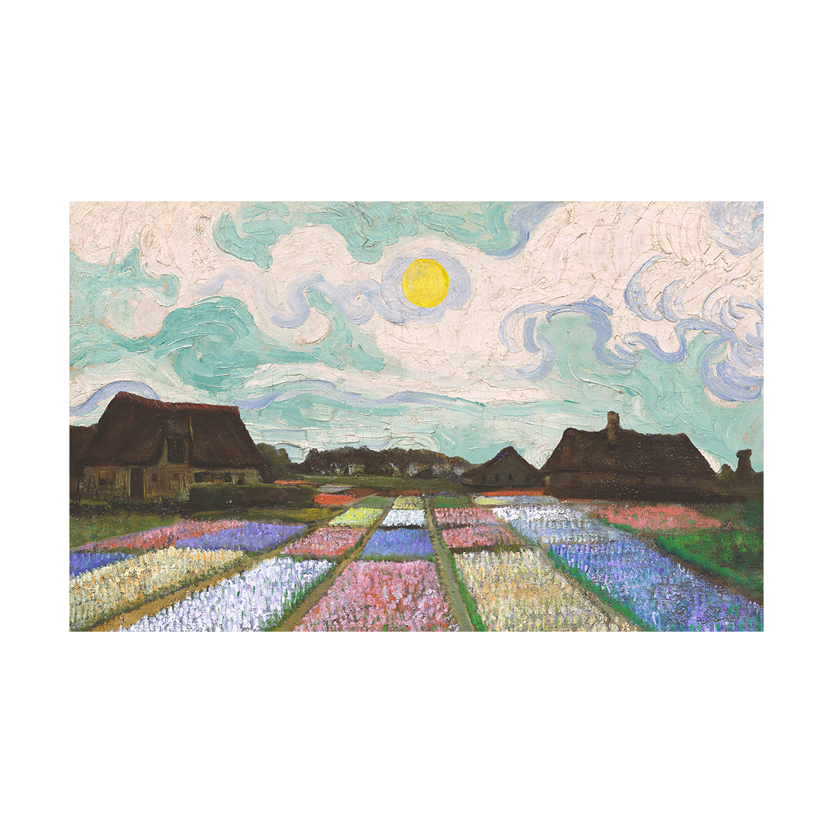 A painting of a beds of flowers in front of houses underneath a midday sun with twisting clouds