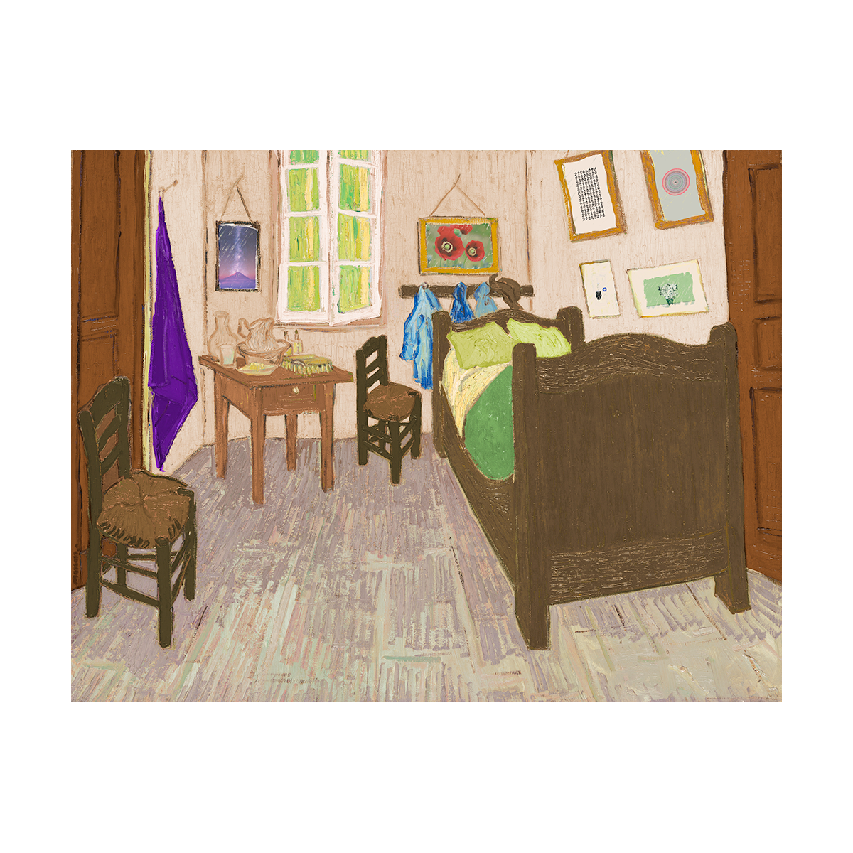 A painting of a fusion of the bedroom as my divorced parents' houses as one inspired by van Gogh's bedroom series
