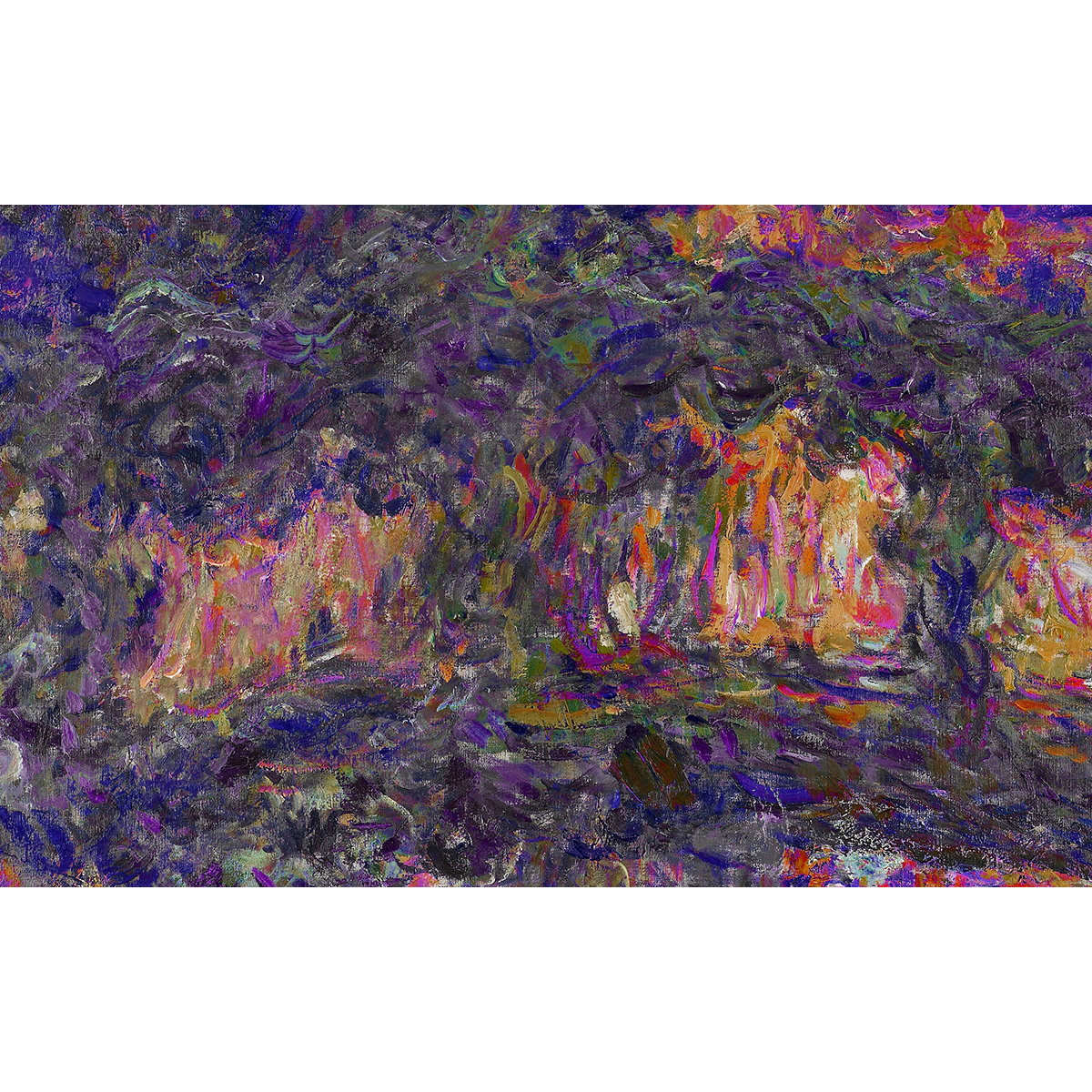 An abstract painting of various colors especially purple and orange