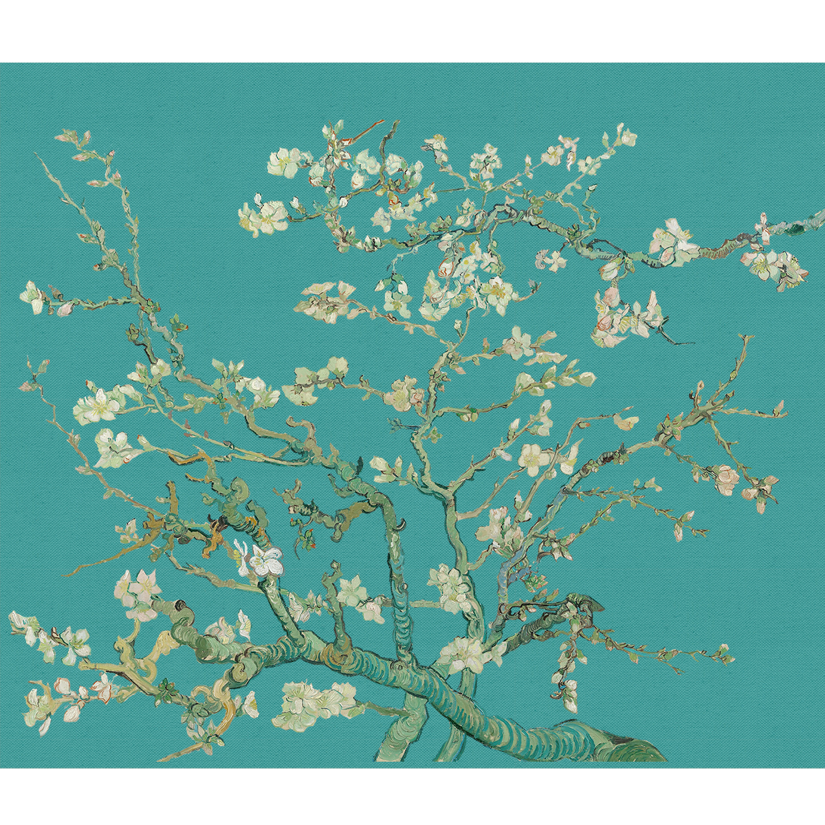 A branch of flowers in front of an aqua background inspired by van Gogh's Almond Blossoms