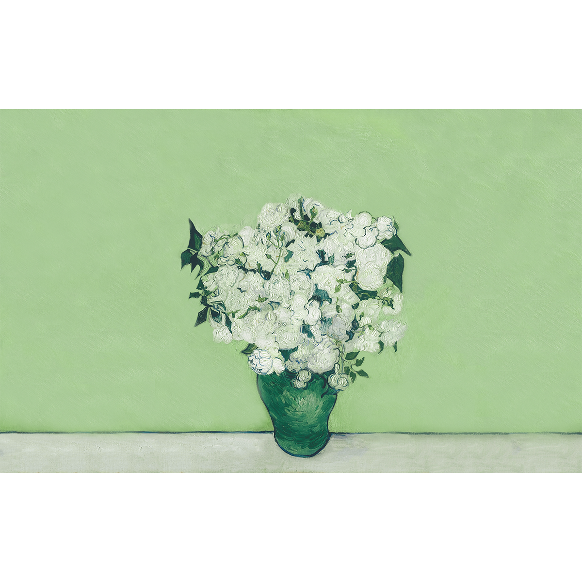 Painting of white roses in a green vase in front of a lighter green background