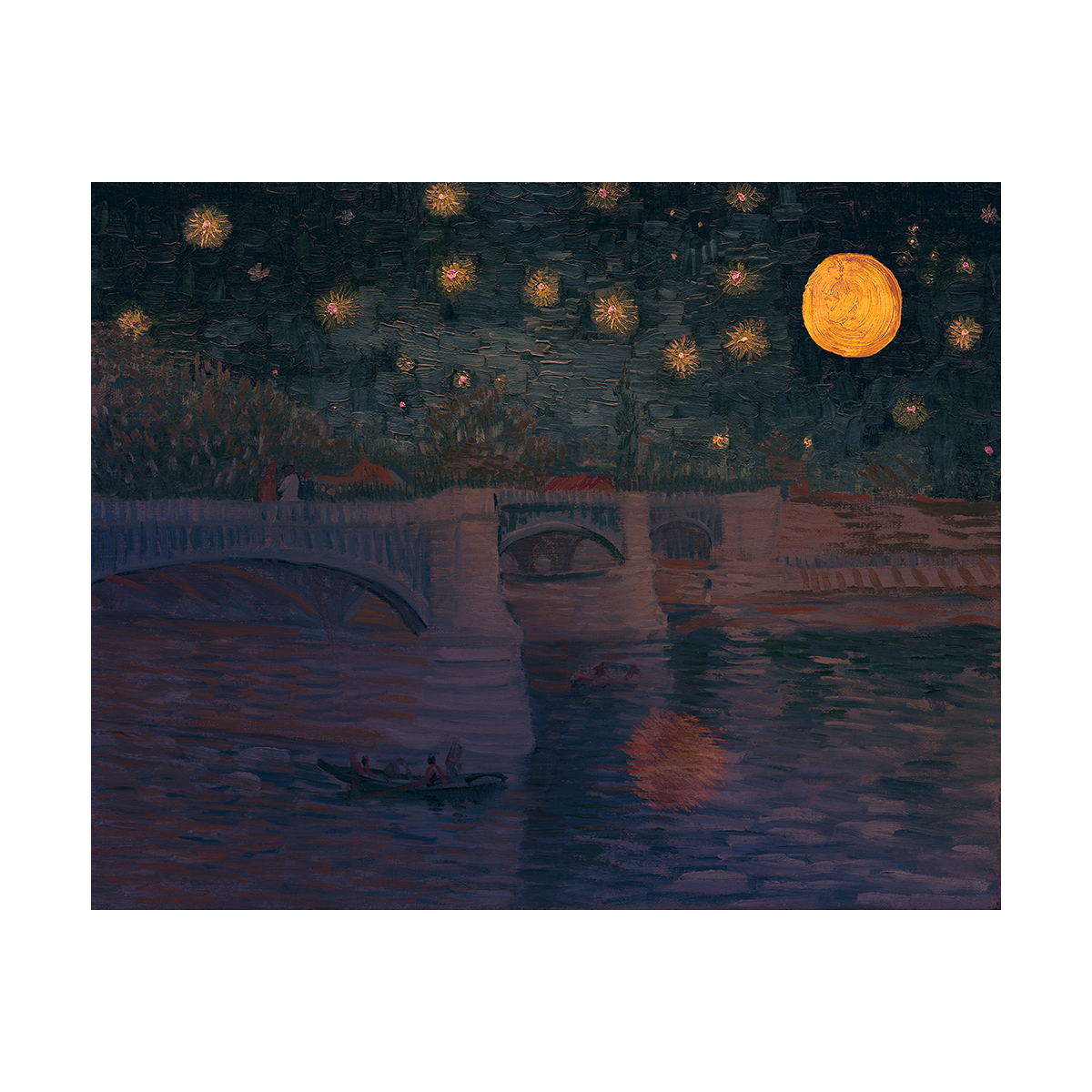 A painting of a bridge underneath a twinkling sky featuring an orange, full moon