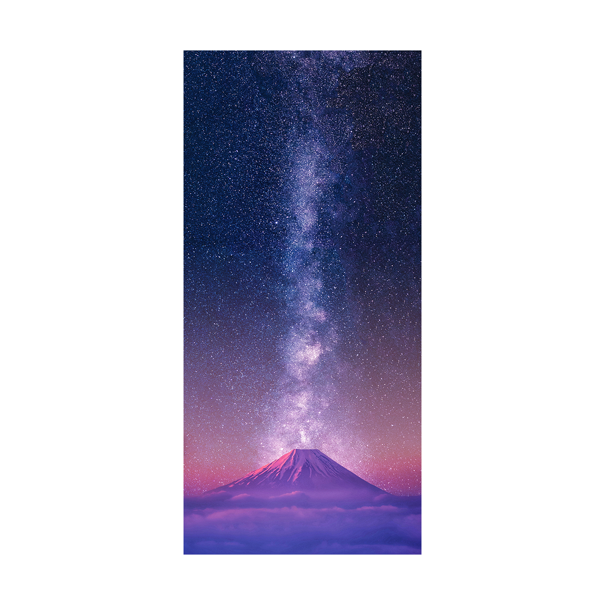 A photorealistic drawing of Mt. Fuji lined up with a vertical Milky Way down the middle in the background