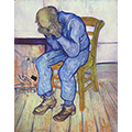 A play on van Gogh's At Eternity's Gate except with the distraught man by his charging but dead phone