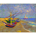 A repainting of van Gogh's boats with a neon effect