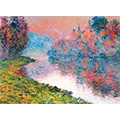A painting of a river cutting through a forest lit with autmn colors underneath a setting sun