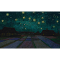 Painting of houses behind beds of flowers under a starry sky