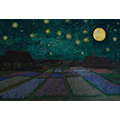 Painting of houses behind beds of flowers under a full moon and a starry sky