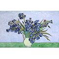 Repainting of van Gogh's Irises, in a white vase in front of a lavender background
