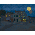Painting of a house with lights on underneath an intersecting settingsun and rising moon