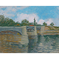 Painting of a bridge underneath a partly cloudy sky