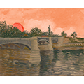 Painting of a bridge in front of a rising sun and an orange sky
