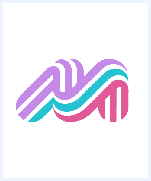 maebil manon logo. Partially italic letter M made of 3 horizontal stripes, one lavender, one aqua, one pink in top down order