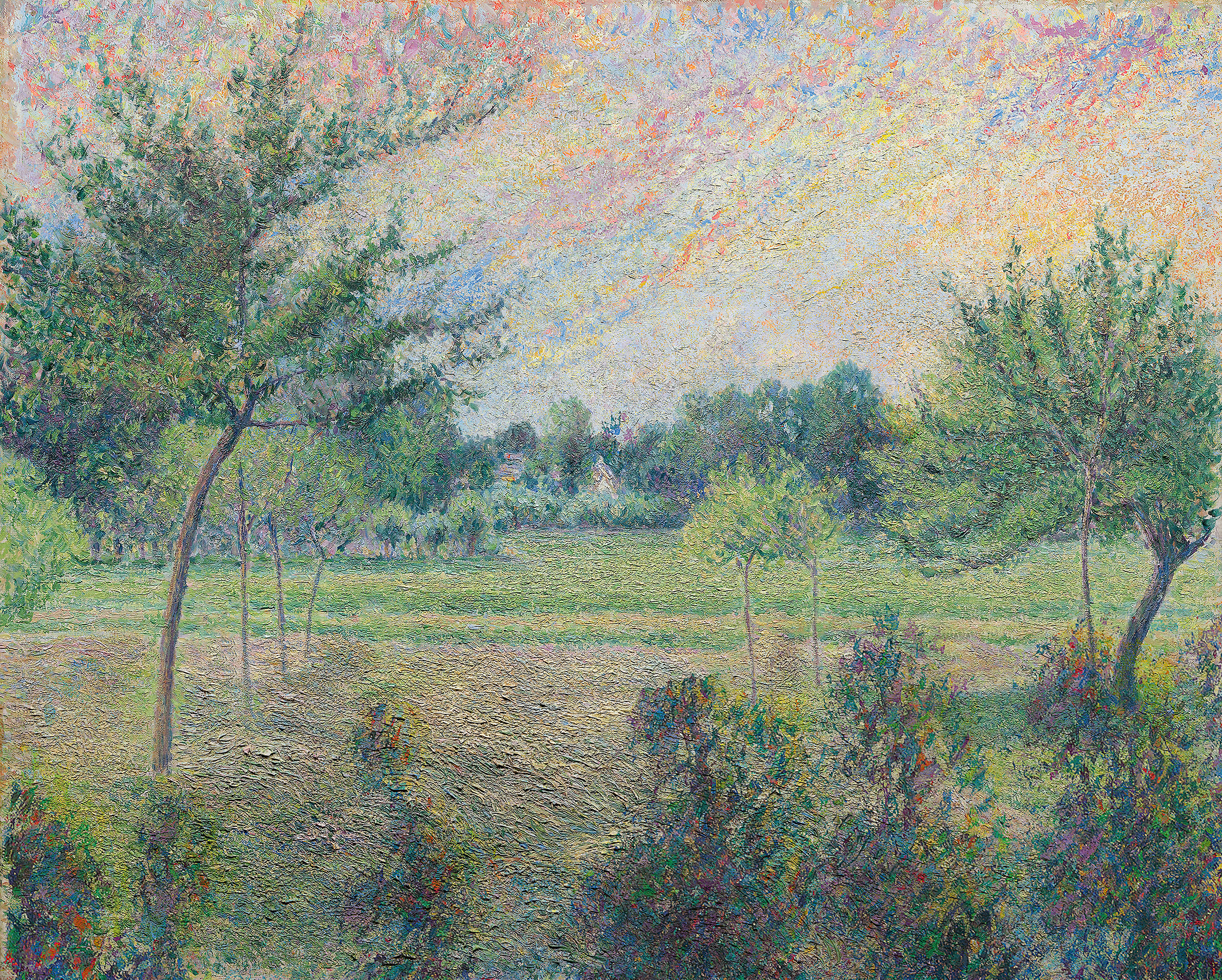 a post-impressionist views inspired by pisarro of bent trees and other trees viewing and in a short green fields
