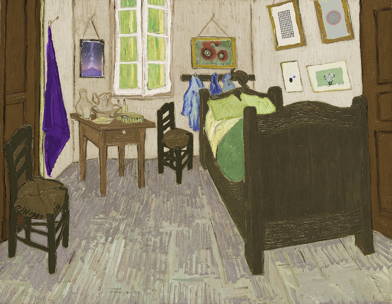 a play and an after of van Gogh's bedroom with a white window and wooden floor featuring my paintings and designs on the wall and the bedroom a fusion of my bedroom at my dad's and mom's places