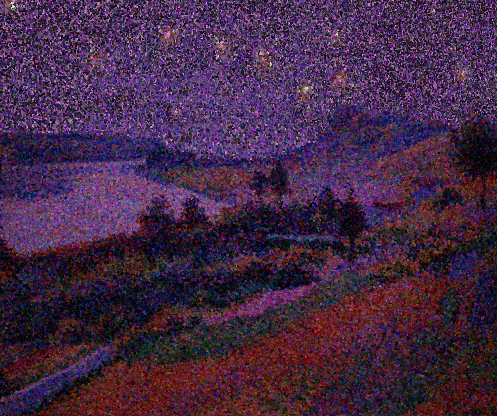 a forest scene by a lake under a purple starry night sky lit with yellow stars