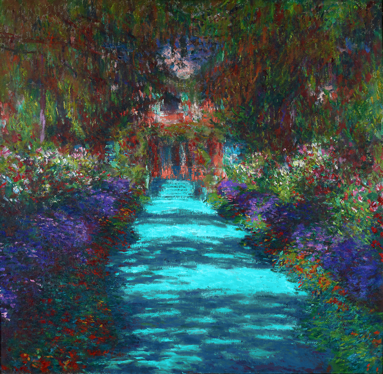 a play and after of monet's garden in the artist's paradise series of colorful garden with a river flowing through