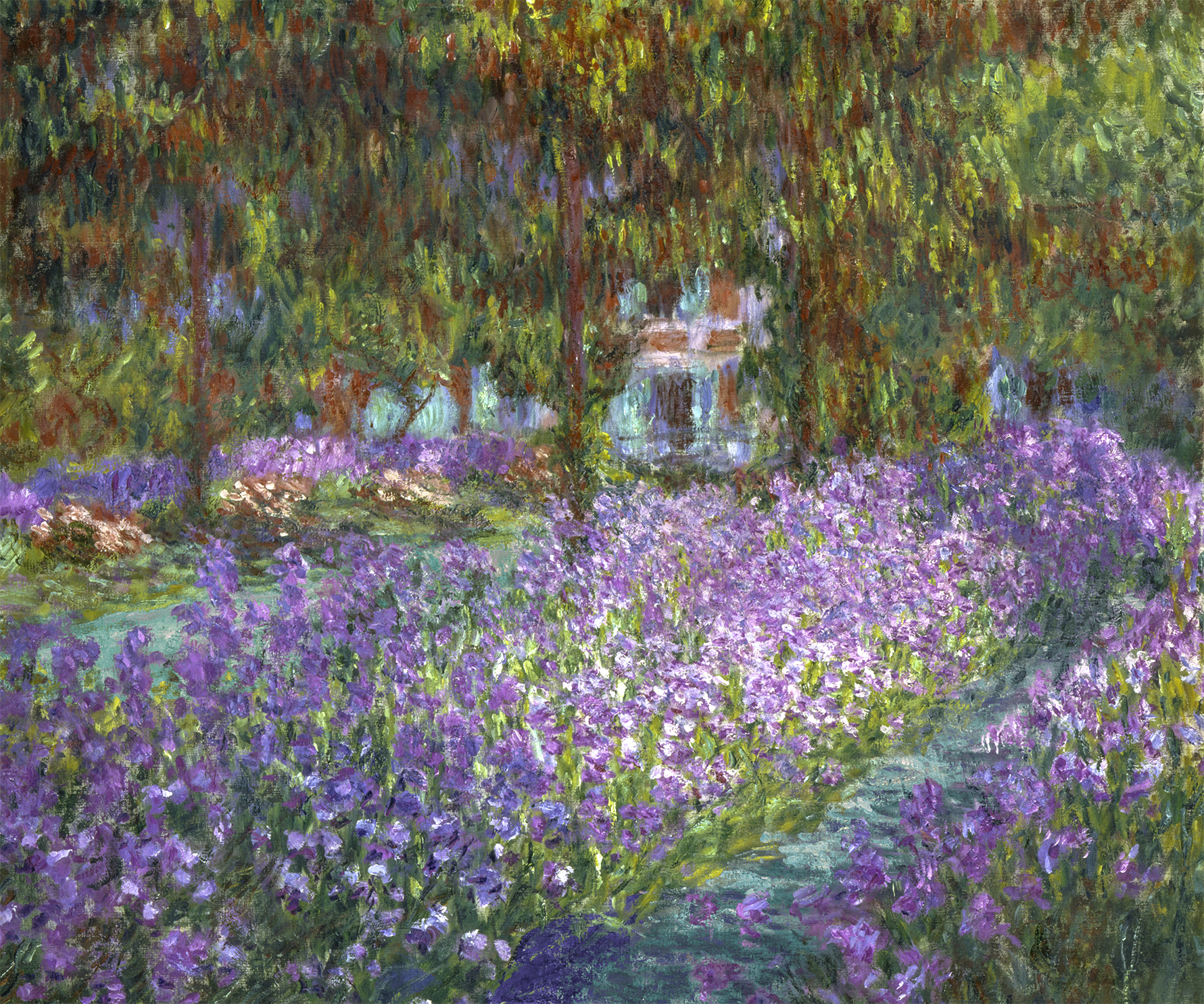 a play and after of monet's garden in the artist's paradise series of irises in a green garden through which rivers flow by a house obscured by trees