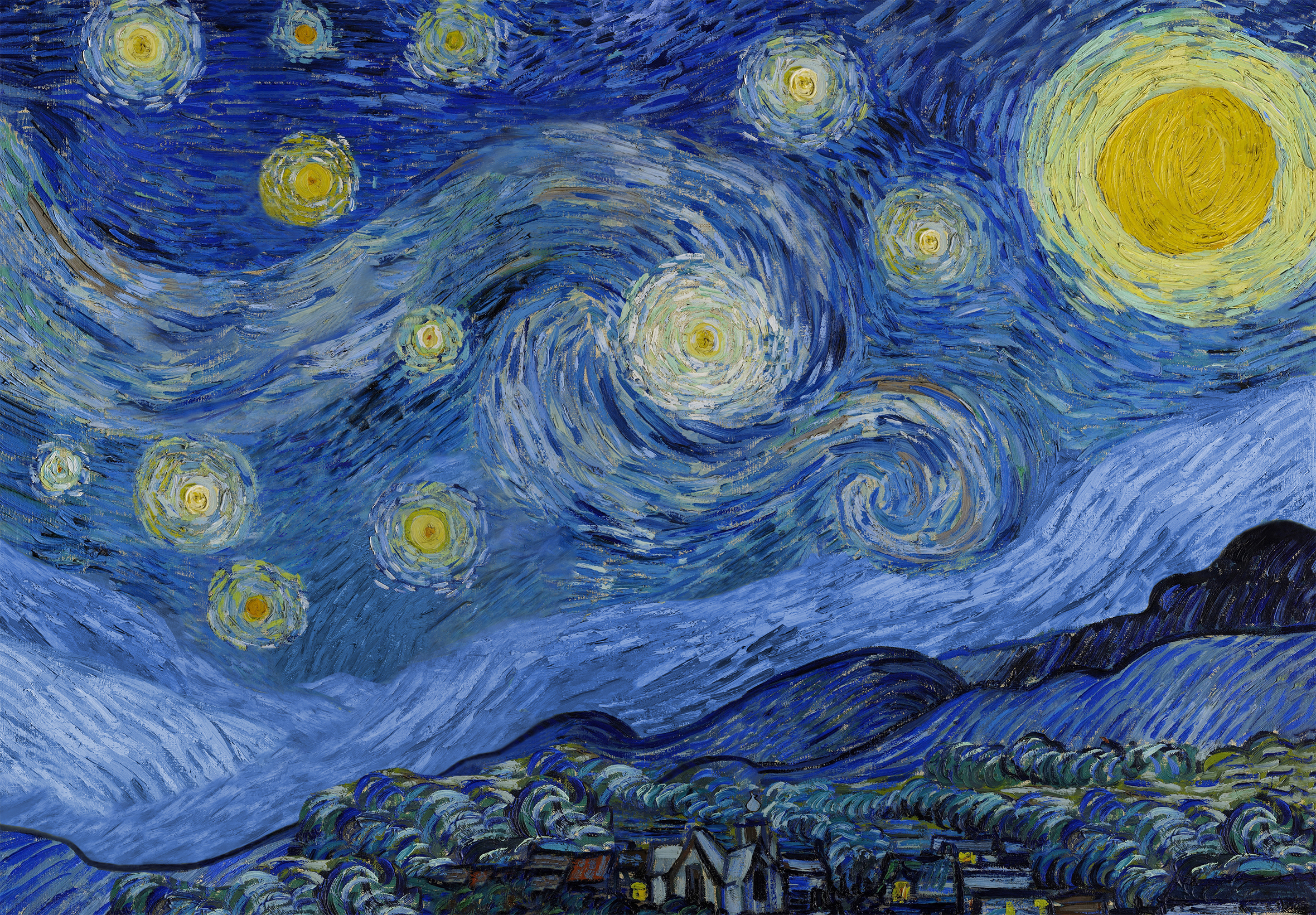 a play on van Gogh's the starry night, better than a thousand months featured no cypress tree and 11 stars and a sun and a larger moon representing Yusuf or Joseph (Alay hiss salaam)'s dream