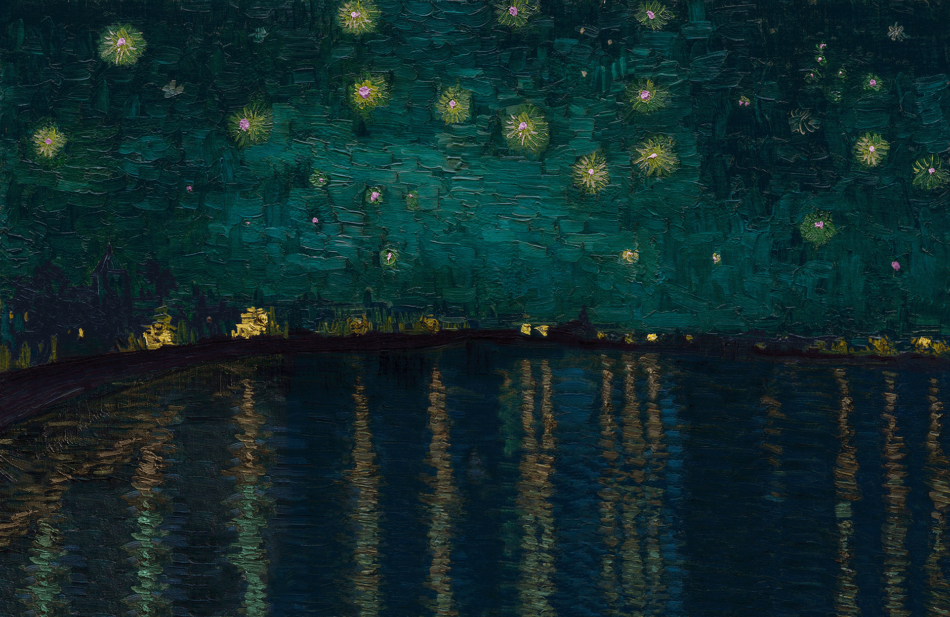 a play and after of van Gogh's starry night over the rhone except painted with the colors he described to his brother Theo in a letter; for example, an aquamarine sky, mauve land, and reflections of light from copper green to russet gold unlike his predisposition to yellow most likely due to an epilespy mediciation he was taking