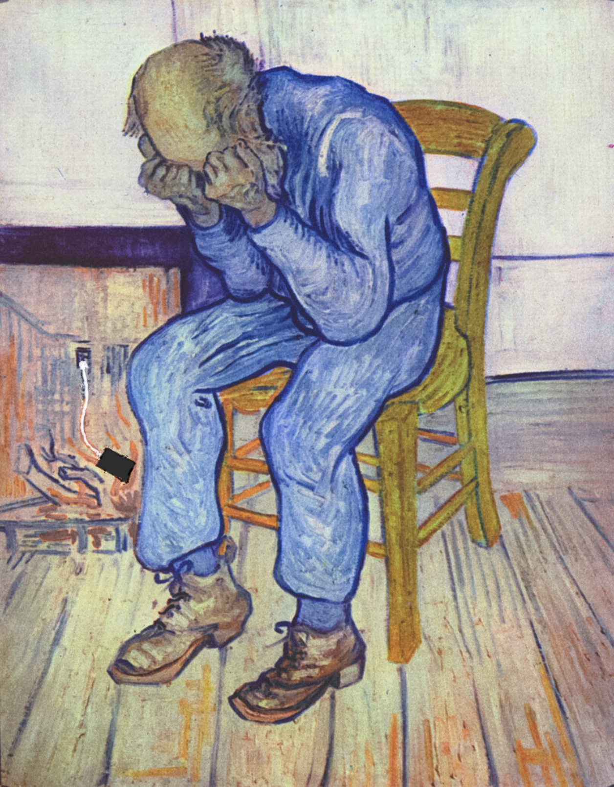 a humorous play on van Gogh's at eternity's gate of a man with hands on his face in anguish as his dead phone is charging