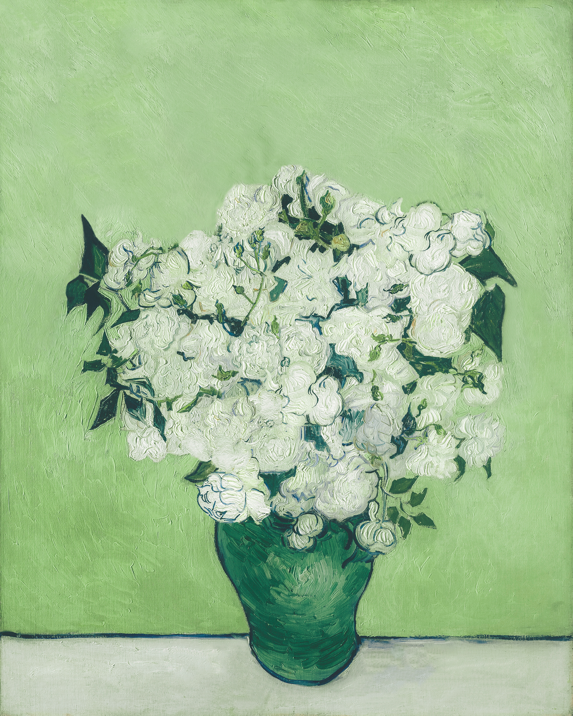 white flowers with green leaves in a green vase on a gray background with a light green backdrop