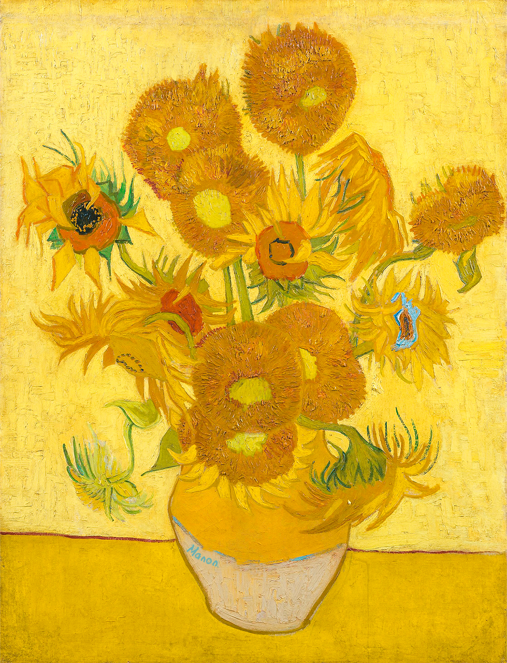 a repainting of van Gogh's sunflowers