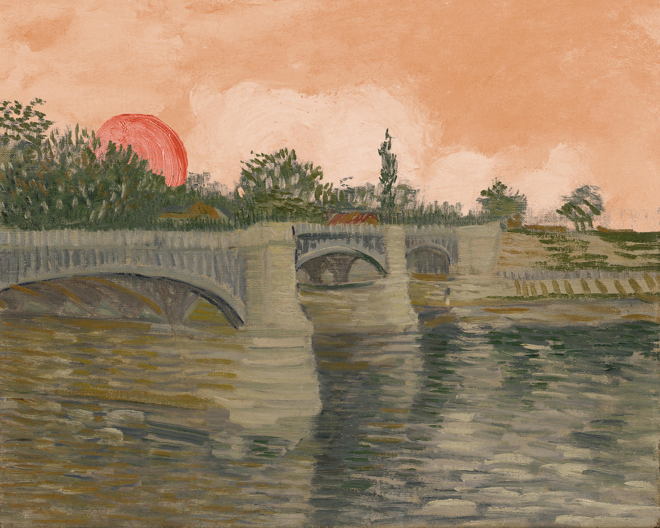 a bridge over water under a red sky with a red sun at dawn
