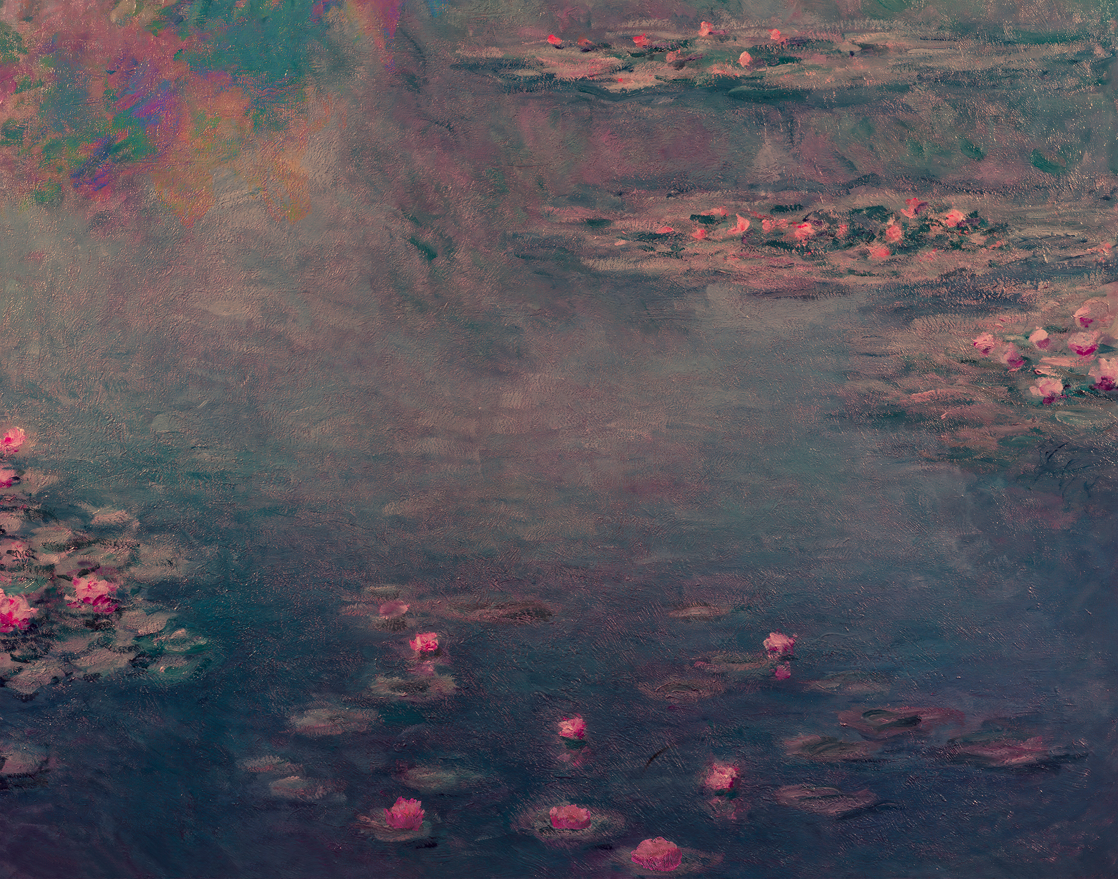 pink and blue toned water lily pond