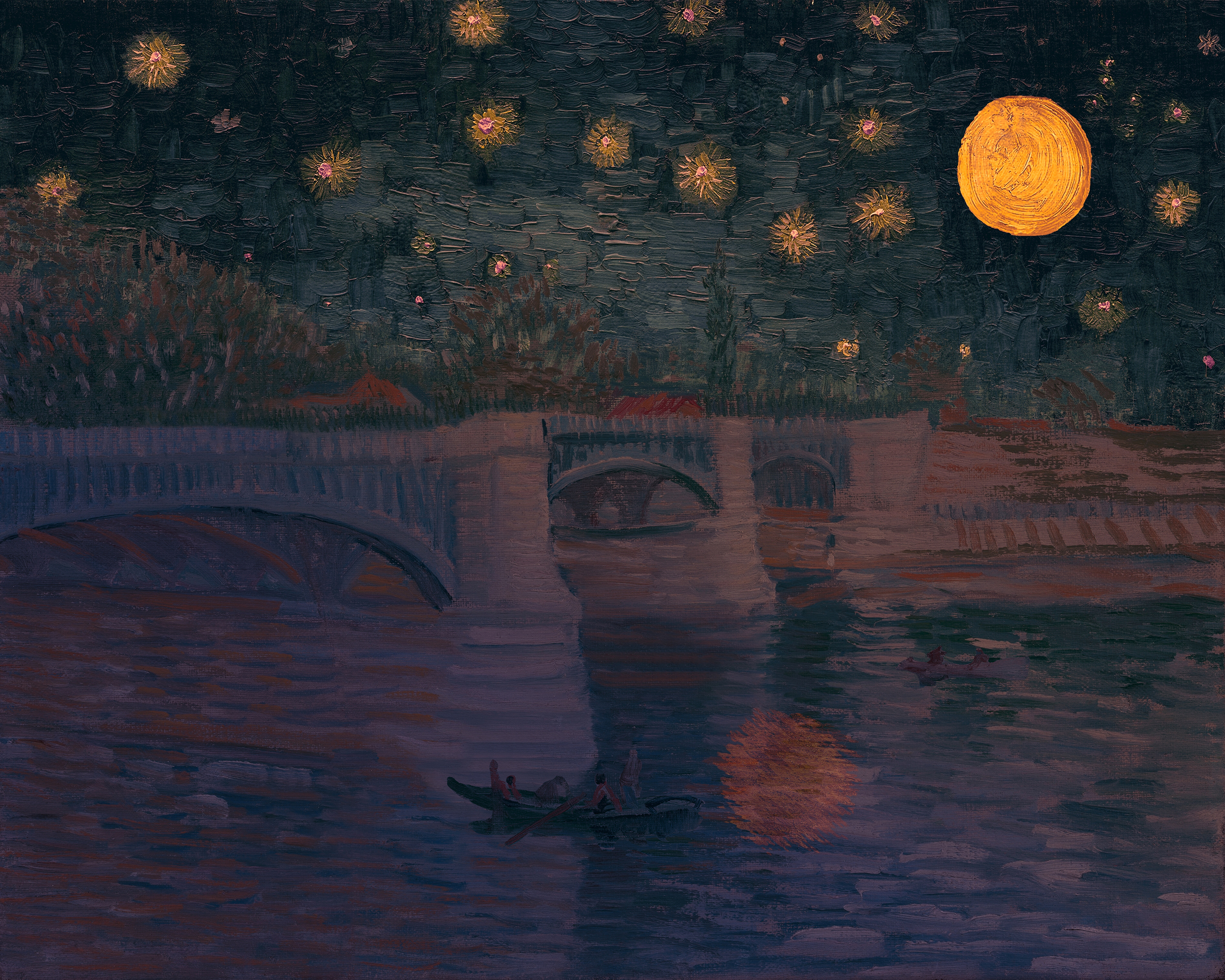 a bridge over a river with two boats and people under a blue sky with orange stars and an orange moon