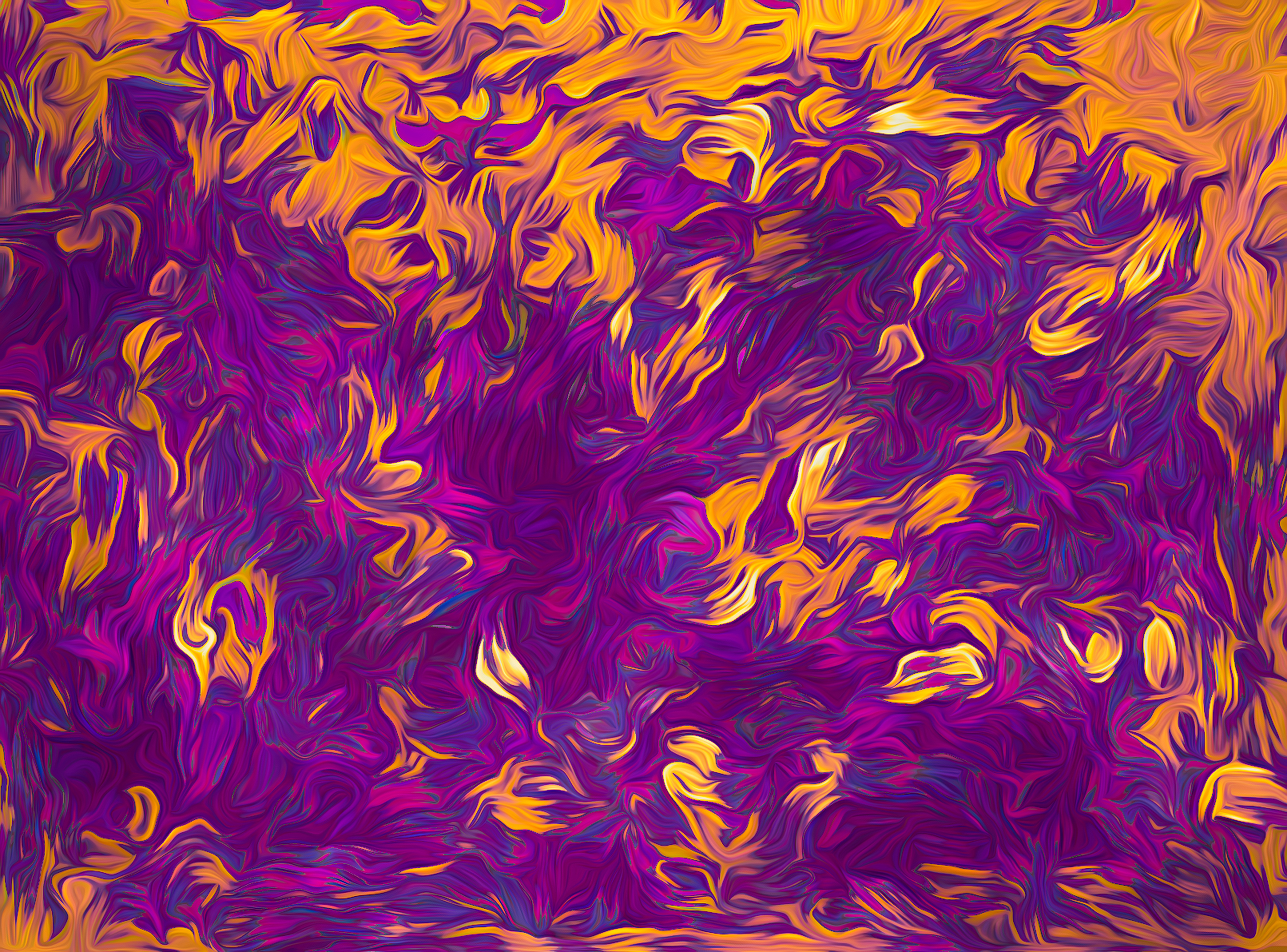 an abstract spill painting of purples pouring into amber meant to document wheatfields at twilight