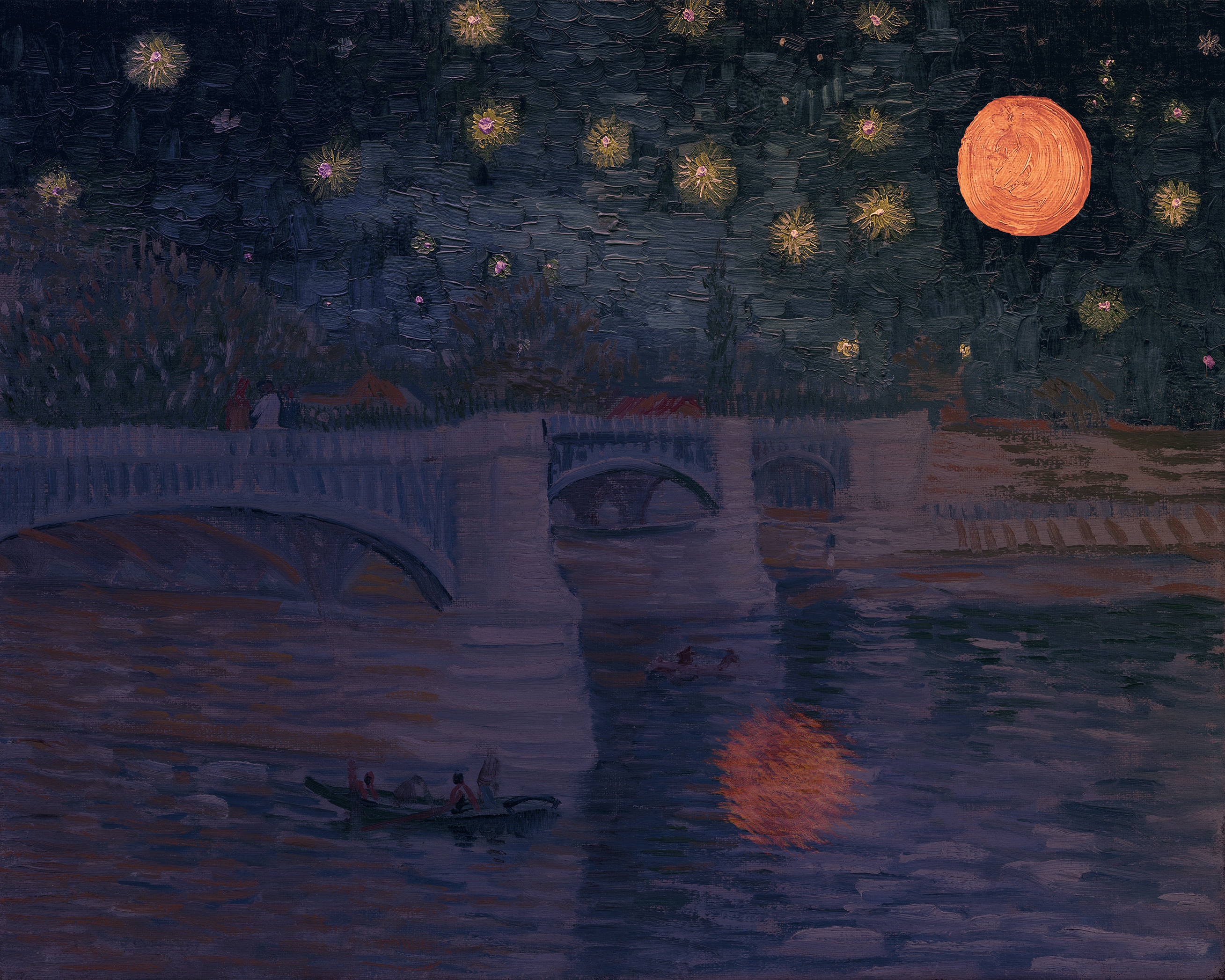 a bridge over water under a dark blue sky with twinkling orange stars and a big red blood moon