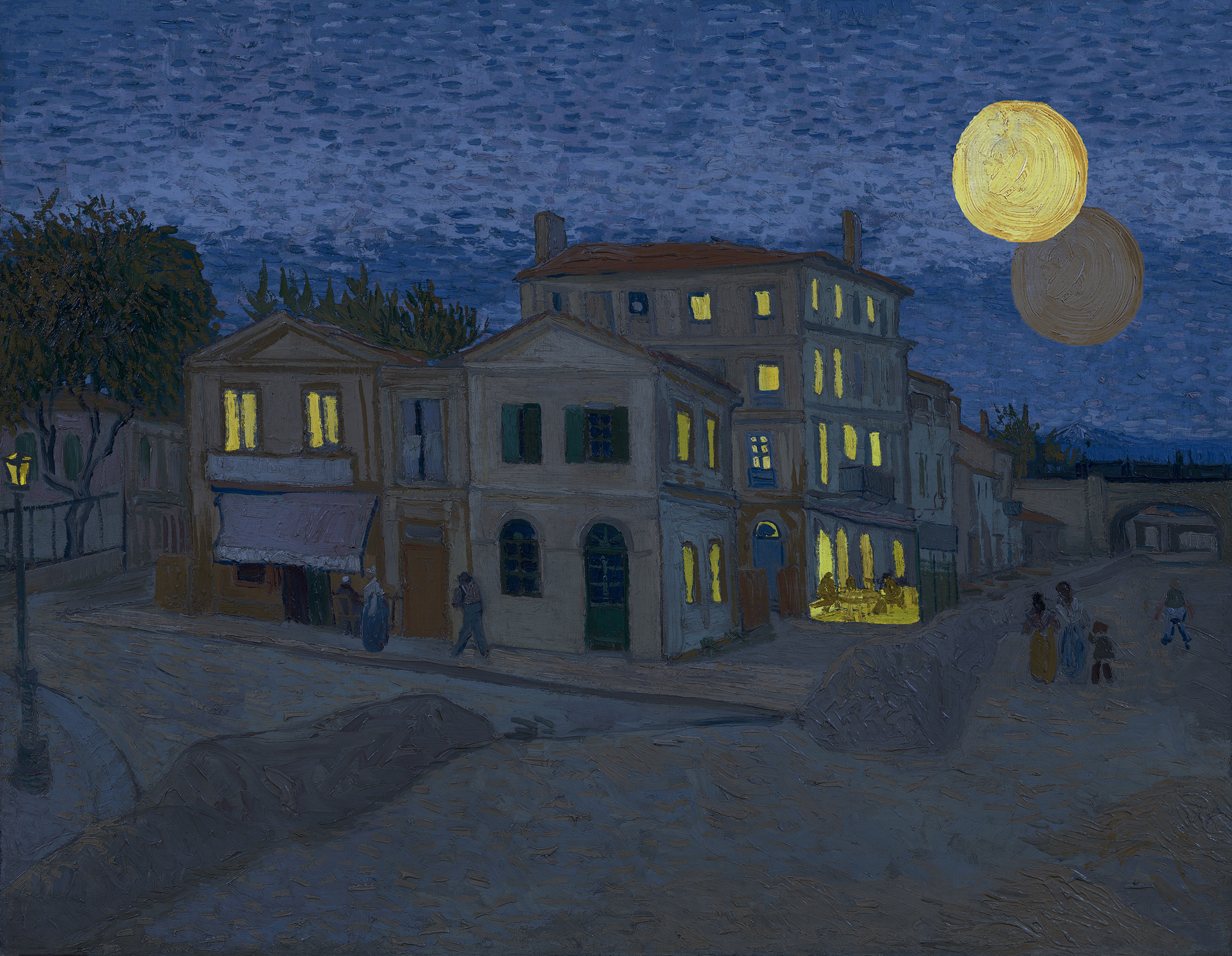 van Gogh's famed yellow house at sunset with criss-crossing setting sun and rising moon