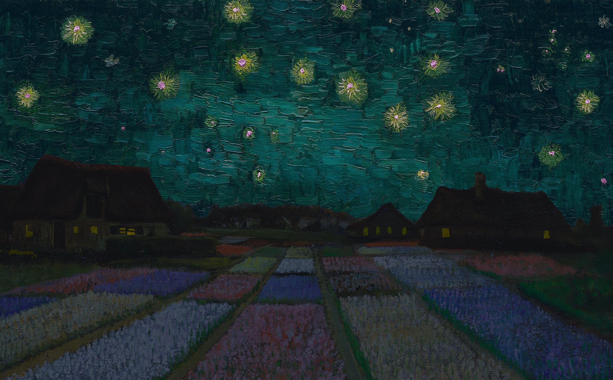 beds of flowers by houses with lights on underneath a starry night sky