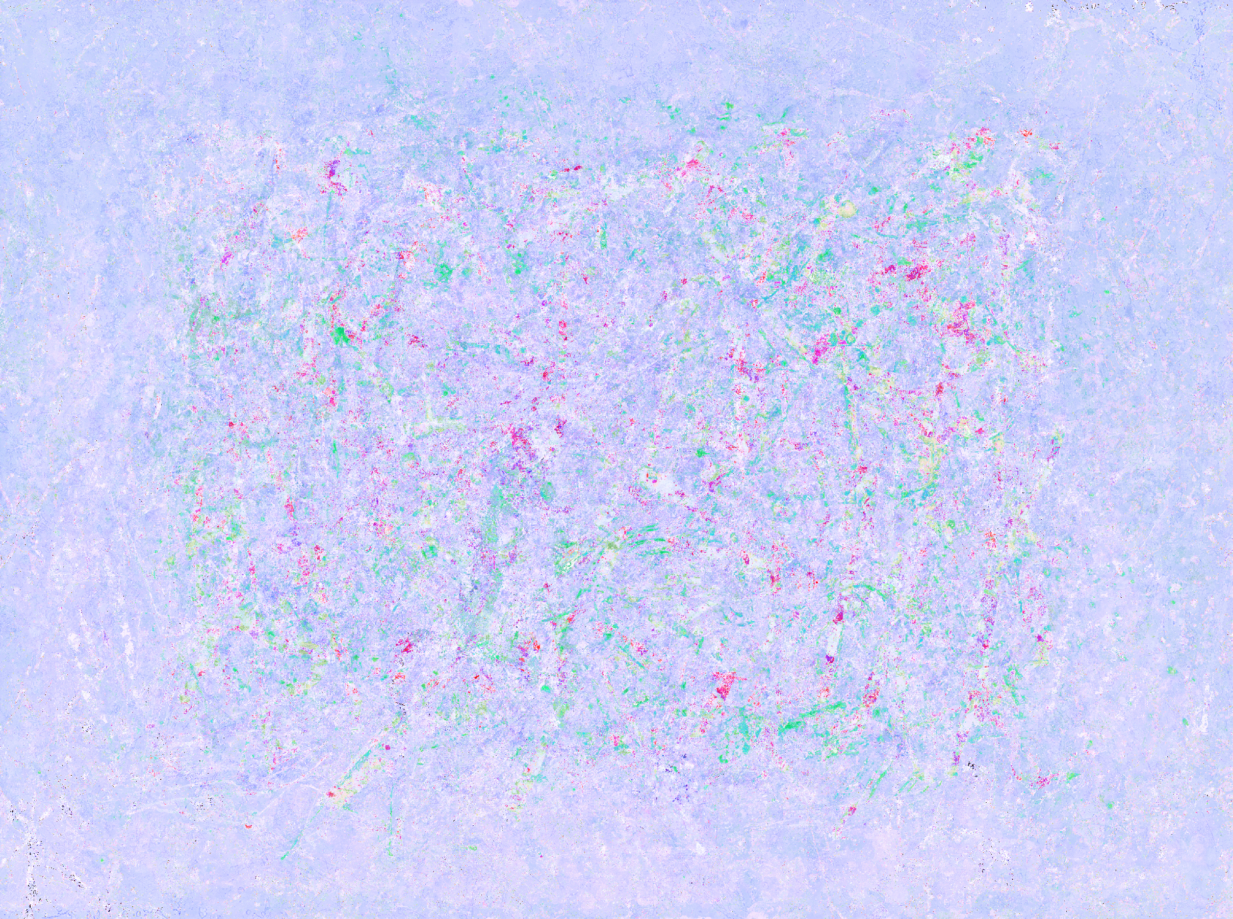 a blue on blue skip painting with splats of magenta and strokes of pale sand colors
